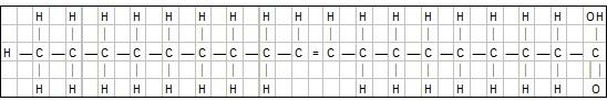 Illustrasjon: Den kjemiske oppbygningen av ènumettet fettsyre