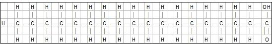 Illustrasjon: Den kjemiske oppbygningen av mettet fettsyre