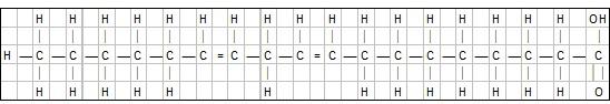 Illustrasjon: Den kjemiske oppbygningen av omega- 6-fettsyre